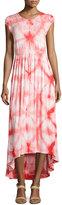 Neiman Marcus Tie-Dye Cap-Sleeve Maxi Dress, White Flame/Scarlet