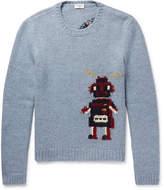 Saint Laurent - Robot-Intarsia Wool-Blend Sweater
