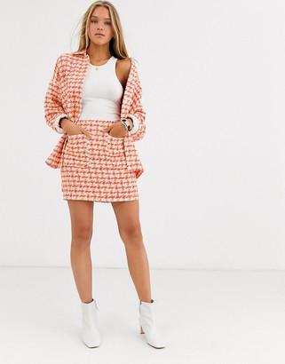 Asos Design DESIGN fluro pop boucle suit skirt-Multi