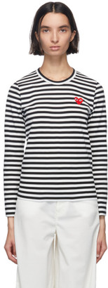 Comme des Garcons Black and White Striped Heart Long Sleeve T-Shirt