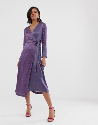 Closet London Closet bell sleeved wrap dress-Gray