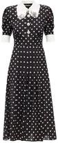 Alessandra Rich Sequinned & Tasselled Polka-dot Pleated Midi Dress - Womens - Black White