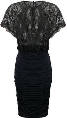 Pinko Lace-Panel Ruched Bodycon Dress