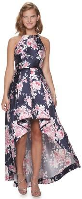 Speechless Juniors' Floral Print Maxi Halter Dress With Hi-Low Skirt
