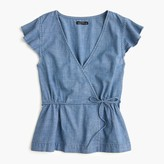 J.Crew Flutter-sleeve faux-wrap top in chambray