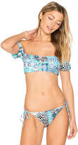 Seafolly Lace Up Cold Shoulder Bandeau in Teal. - size Aus 10/US 6 (also in Aus 12/US 8,Aus 14/US 10,Aus 8/US 4)