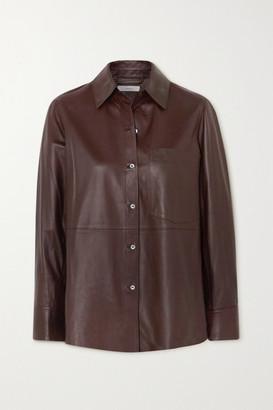 Vince Leather Shirt - Chocolate
