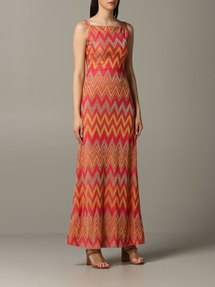 M Missoni Long Dress With Zigzag Lurex Pattern