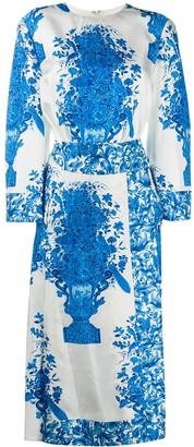 Valentino Floral-Print Midi Dress