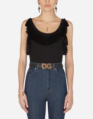 Dolce & Gabbana Jersey Tank Top With Passementerie
