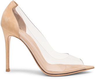 Gianvito Rossi Open Toe Heel in Nude & Transparent | FWRD