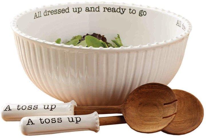 Mud Pie Circa Ceramic Salad Bowl & Wood Server Set