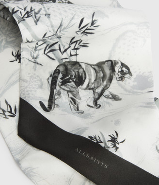 AllSaints Strength Silk Skinny Scarf