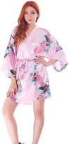 Simplicity Women's Peacock & Blossoms Printed Short Silk Satin Kimono Robe Bathrobe
