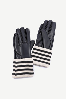 Ardene Striped Knit Faux Leather Gloves