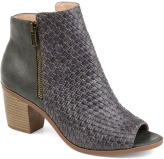 Journee Collection Pilar Women's Woven Peep Toe Ankle Boots
