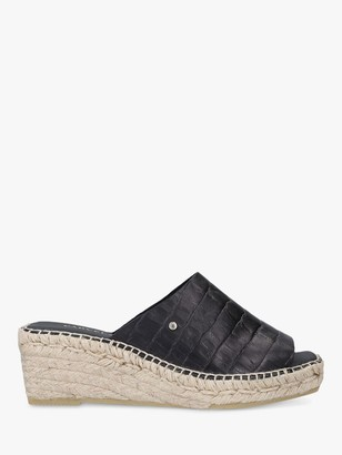 Carvela Konform Leather Croc Print Espadrille Wedge Sandals, Black