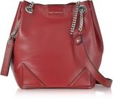Karl Lagerfeld K/Slouchy Dark Pomegranates Leather Small Bucket Bag