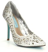 Betsey Johnson Blue by Elsa Jeweled Laser-Cut Satin Pointed-Toe Pumps