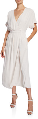 Equipment Tavine Short-Sleeve Midi Wrap Dress