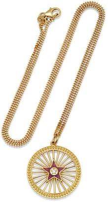 Andrea Fohrman Amethyst Enamel Starburst Pendant Yellow Gold Necklace