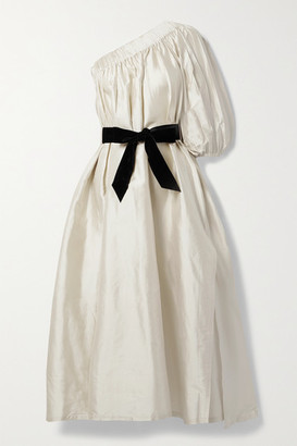 ARTCLUB Aster One-shoulder Velvet-trimmed Silk-dupioni Midi Dress - Gold