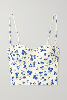 Thumbnail for your product : HVN Convertible Printed Cotton-blend Poplin Bustier Top - White