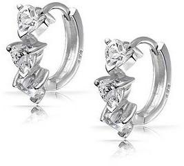Bling Jewelry 3 Heart Cubic Zirconia Hoop Earrings Hinged Sterling Silver