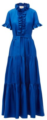 La DoubleJ Long And Sassy High-neck Ruffled Silk Dress - Blue