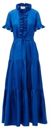 La DoubleJ Long And Sassy High-neck Ruffled Silk Dress - Womens - Blue