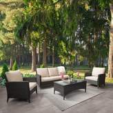 BEIGE Ja Wide 4 Piece Rattan Sofa Seating Group with Cushions Highland Dunes Cushion Color: Beige, Frame Finish: Distressed Charcoal Gray