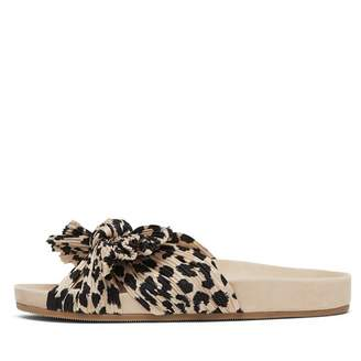 Loeffler Randall Caro Pleated Knot Footbed in Leopard