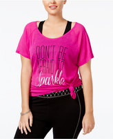 Material Girl Active Plus Size Sparkle Graphic T-Shirt, Only at Macy's