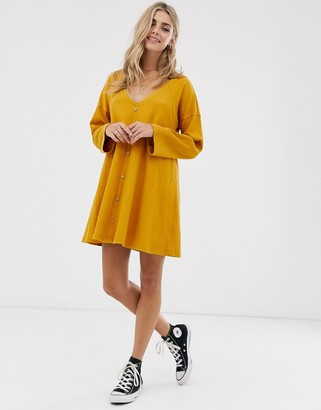 Asos Design DESIGN mini button through swing dress in texture-Yellow