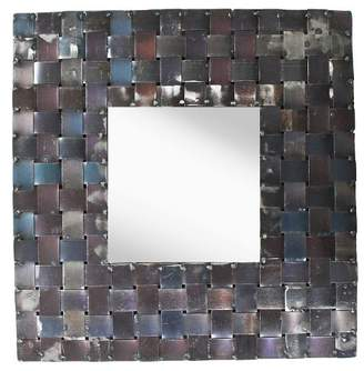PTM Images Square Metal Basket Weave Decorative Wall Mirror