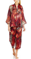 N by Natori Wilderness Satin Chiffon Capri Pajamas