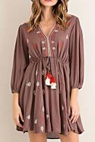 Entro Embroidered Tassel Dress