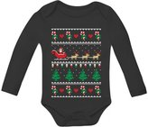 TeeStars Flying Santa Ugly Christmas Sweater Bodysuit Cute Xmas Baby Long Sleeve Onesie 6M