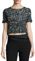 Haute Hippie Mosaic Sequin-Embellished Crop Top