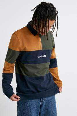 Timberland Overdyed Colourblock Long-Sleeve Polo Shirt - assorted S at Urban Outfitters