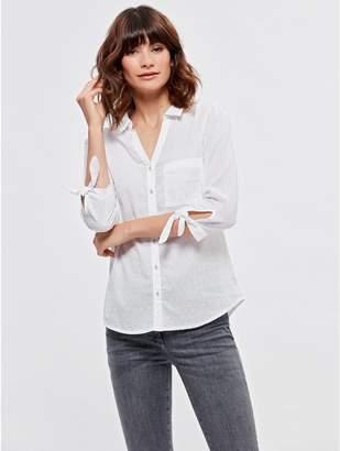 M&Co Textured tie sleeve shirt