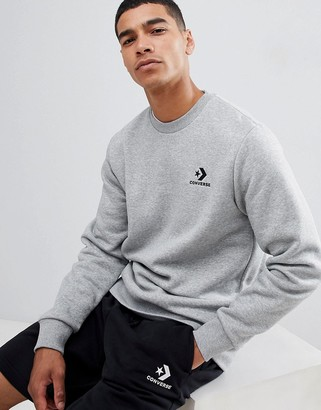 Converse star chevron sweat with embroidered logo in gray