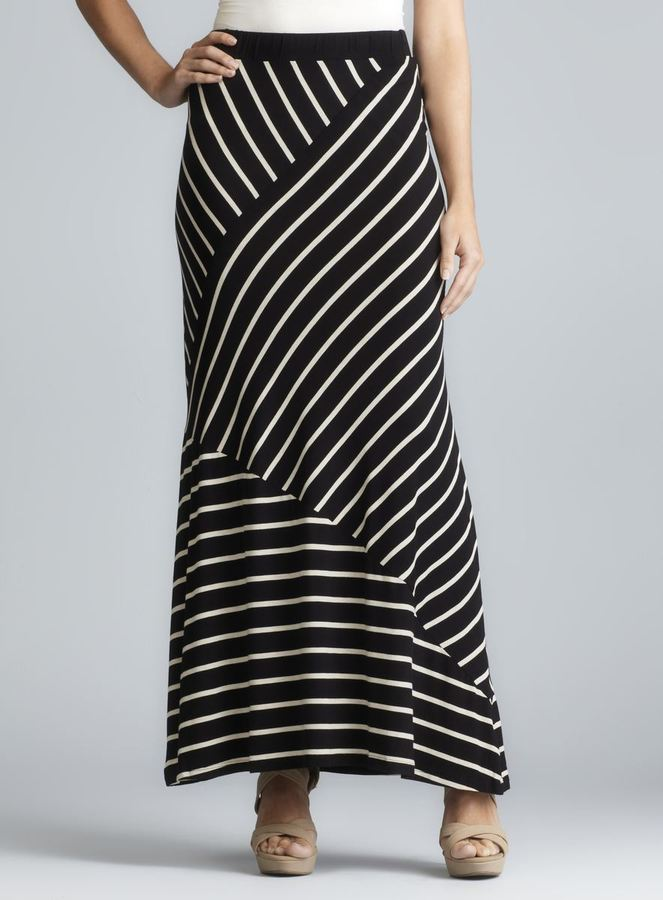 Romeo & Juliet Couture Asymmetrical Stripe Maxi Skirt