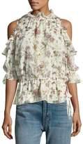 Max Studio Floral-Print Cold-Shoulder Blouse