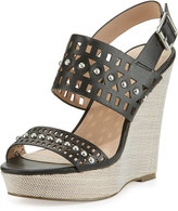 Charles by Charles David Aloof Studded Laser-Cut Wedge Sandal, Black