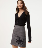 LOFT Bird Embroidered Plaid Skirt