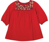 Bonpoint Embroidered Cotton-Blend Shift Dress, Red, Size 6M-2