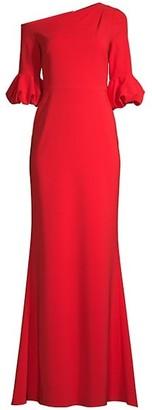 Aidan Mattox Asymmetrical-Sleeve Gown