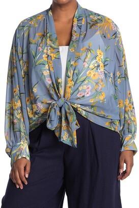 Pleione Long Sleeve Floral Print Tie Blouse
