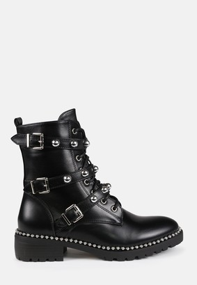 Missguided Black Triple Buckle Studded Ankle Boots